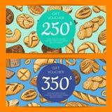 Carte de vecteur avec la boulangerie tirée par la main Images libres de droits