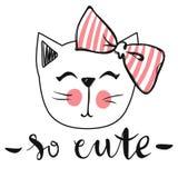 Carte de vecteur avec le chat mignon de mode Chaton élégant Minou de griffonnage images libres de droits