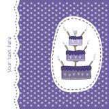 Carte de vecteur avec le gâteau romantique Image stock