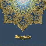 Carte de vecteur avec le mandala de lueur Fond de vecteur Photos stock