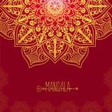 Carte de vecteur avec le mandala de lueur Fond de vecteur Decorat ethnique Images libres de droits
