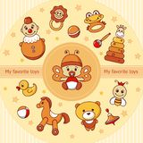 Carte de vecteur avec les icônes colorées de bébé illustration libre de droits