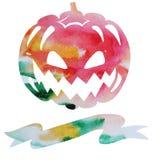 Carte de vecteur d'aquarelle pour Halloween avec le potiron et endroit pour Photos libres de droits