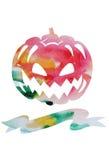 Carte de vecteur d'aquarelle pour Halloween avec le potiron et endroit pour Image libre de droits