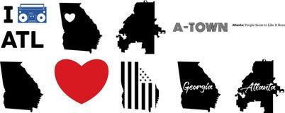 Carte de vecteur d'Atlanta la G?orgie et le drapeau am?ricain illustration libre de droits