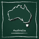 Carte de vecteur d'ensemble d'Australie tirée par la main avec illustration libre de droits