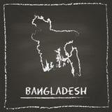 Carte de vecteur d'ensemble du Bangladesh tirée par la main avec Images libres de droits