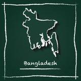 Carte de vecteur d'ensemble du Bangladesh tirée par la main avec Photo stock
