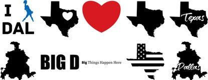 Carte de vecteur de Dallas le Texas avec la carte du Texas illustration libre de droits