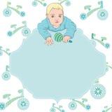 Carte de vecteur de bébé garçon avec le cadre des textes Images stock