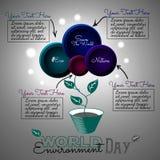 Carte de vecteur de jour d'environnement du monde Infographie Fleur abstraite dans un pot Illustration Libre de Droits