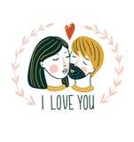 Carte de vecteur de jour du ` S de Valentine Beau baiser de fille et de garçon dans le style scandinave avec le lettrage - ` de ` Image stock