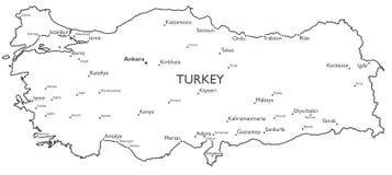 Carte de vecteur de la Turquie Photos stock