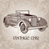 Carte de vecteur de vintage avec la rétro voiture Photo libre de droits