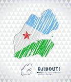 Carte de vecteur de Djibouti avec l'intérieur de drapeau d'isolement sur un fond blanc Illustration tirée par la main de craie de Photos stock