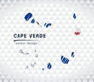 Carte de vecteur du Cap Vert avec l'intérieur de drapeau d'isolement sur un fond blanc Illustration tirée par la main de craie de illustration libre de droits