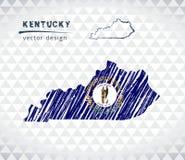 Carte de vecteur du Kentucky avec l'intérieur de drapeau d'isolement sur un fond blanc Illustration tirée par la main de craie de illustration libre de droits