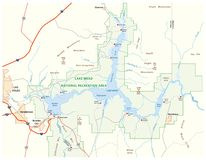 Carte de vecteur du Lake Mead, Nevada, Arizona, Etats-Unis illustration de vecteur