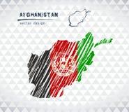 Carte de vecteur de l'Afghanistan avec l'intérieur de drapeau d'isolement sur un fond blanc Illustration tirée par la main de cra Image libre de droits