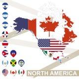 Carte de vecteur de l'Amérique du Nord avec des drapeaux illustration stock