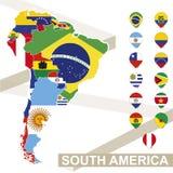 Carte de vecteur de l'Amérique du Sud avec des drapeaux illustration de vecteur