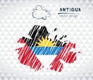 Carte de vecteur de l'Antigua avec l'intérieur de drapeau d'isolement sur un fond blanc Illustration tirée par la main de craie d Images stock