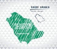Carte de vecteur de l'Arabie Saoudite avec l'intérieur de drapeau d'isolement sur un fond blanc Illustration tirée par la main de illustration de vecteur