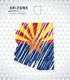 Carte de vecteur de l'Arizona avec l'intérieur de drapeau d'isolement sur un fond blanc Illustration tirée par la main de craie d Photos stock
