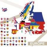 Carte de vecteur de l'Europe avec des drapeaux illustration de vecteur