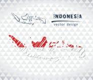 Carte de vecteur de l'Indonésie avec l'intérieur de drapeau d'isolement sur un fond blanc Illustration tirée par la main de craie illustration libre de droits