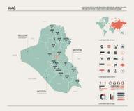Carte de vecteur de l'Irak Haute carte détaillée de pays avec la division, les villes et la capitale Bagdad Carte politique, cart illustration de vecteur