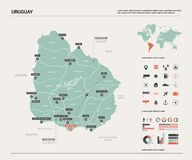 Carte de vecteur de l'Uruguay illustration de vecteur