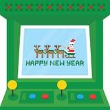 Carte de vecteur de machine d'arcade de bonne année Photo stock