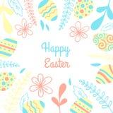 Carte de vecteur de Pâques Cadre d'illustration avec des oeufs et des fleurs Photographie stock