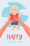 Carte de vecteur, souhait, invitation Illustration Père heureux jouant avec son petit bébé mignon Father& heureux x27 ; jour de s Images stock