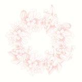 Carte de vecteur de vintage avec le cadre détaillé des roses de jardin sur un fond blanc Style victorien Photo libre de droits
