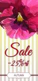Carte de vente d'automne La pensée colorée fleurit sur le fond barré par yelow Image stock