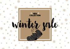 Carte de vente d'hiver avec la police et les patins de calligraphie Illustration géométrique Image libre de droits