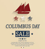 Carte de vente de Columbus Day Images libres de droits