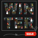 Carte de vente de griffonnage d'hiver Image libre de droits