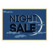 Carte de vente et de remise, bannière, insecte Offre noire de vendredi Titre de vente de nuit Nouvelle lune, planète avec des éto illustration libre de droits