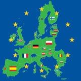 Carte de vert d'Union européenne au-dessus de bleu photographie stock