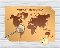 Carte de Vieux Monde avec le papier de vintage, le parchemin, la boussole d'or et le m illustration libre de droits