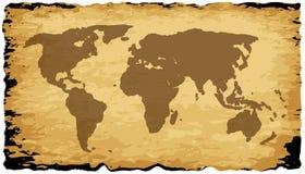 Carte de Vieux Monde sur le parchemin Photos stock
