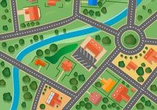 Carte de village de banlieue illustration stock