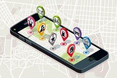 Carte de ville avec des icônes de services illustration de vecteur