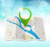 Carte de ville avec le marqueur Images libres de droits