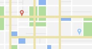 Carte de ville avec quelques étiquettes d'emplacement Photographie stock libre de droits