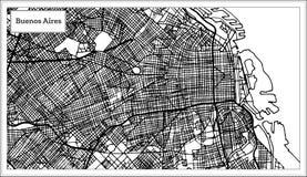 Carte de ville de Buenos Aires Argentine dans la couleur noire et blanche illustration stock
