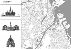 Carte de ville de Copenhague avec les icônes tirées par la main d'architecture illustration libre de droits